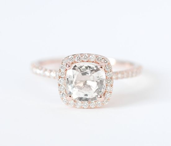 Certified Peach Champagne Cushion Sapphire Diamond Halo Engagement Ring 14K Rose Gold. $2,010.00, via Etsy.