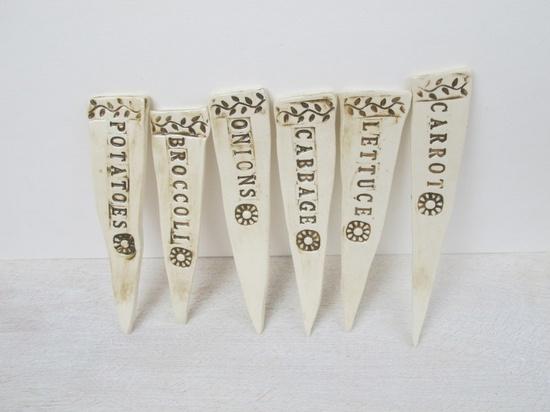 Ceramic Garden Markers // Handmade Pottery Plant Stakes. $12.00, via Etsy.