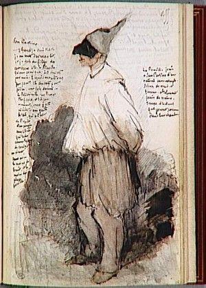 """Acteur du théâtre San-Carlino, de profil à gauche  Jules de Goncourt, écrivain  """"Carnet des Goncourt : Voyage en Italie""""  Crédit photographique : RMN (Musée d'Orsay) /Jean-Gilles Berizzi  Paris, musée du Louvre"""