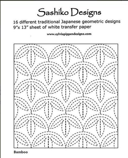 """This packet includes 16 geometric sashiko design patternsand a 9"""" x 13"""" piece of transfer paper. Bamboo            Key FretWaves             BishamonMountains         Seven TreasuresDouble Cypress FencePampas Grass      Arrow FeathersLinked hexagons    Overlapping SquaresOverlapping Diamonds Lightning          Hemp LeafLinked Diamonds   Persimmon Flower Additional transfer paper, sashiko needles and thread can be found on our sash"""