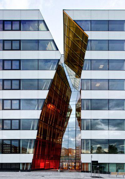 Colored glass - Hekla urban quarter, Kista, Stockholm  Wingårdhs Arkitekter - broken but not jagged