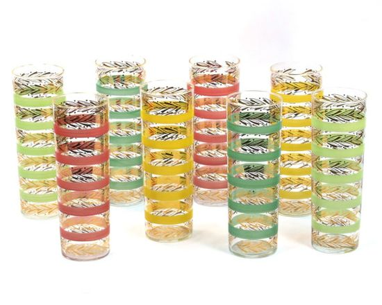 Set of 8 Mid Century Multi Color Cocktail Glasses. beautiful!