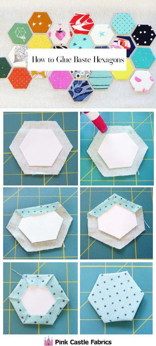 Glue basting hexagon