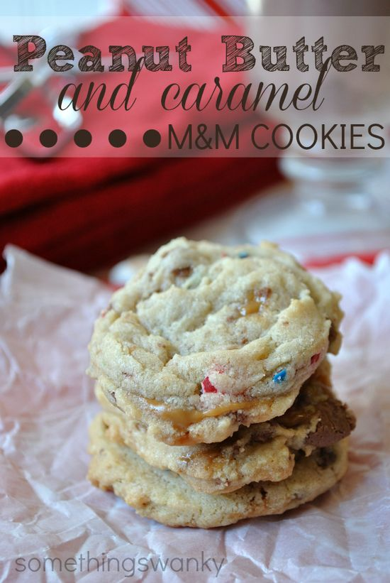 Peanut Butter and Caramel m and m Cookies from @Ashton @ Something Swanky on www.chef-in-train... ... These cookies have it all! They are delicious and unique! #cookie #recipe