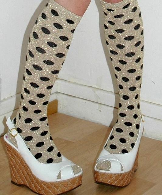 gold polka socks