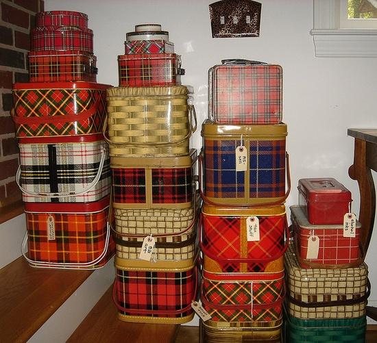 stacks of Plaid picnic tins....