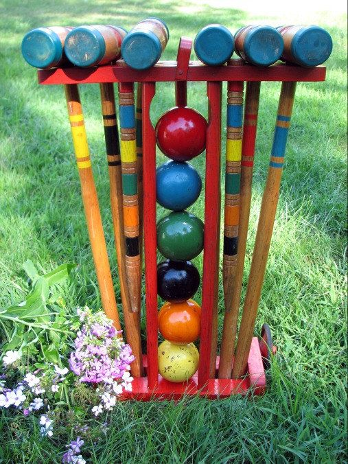 Vintage Croquet Set Made by Rademaker 1950s Set by PoetryofObjects