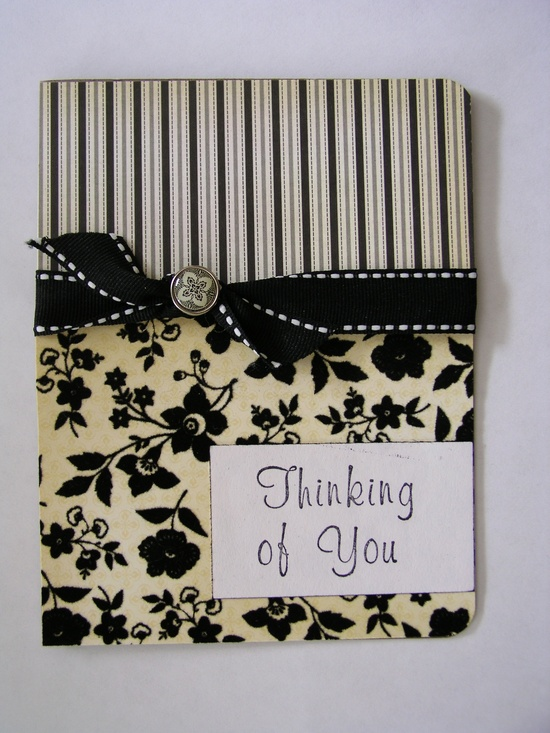 Handmade Card - I like the two separate papers with ribbon between