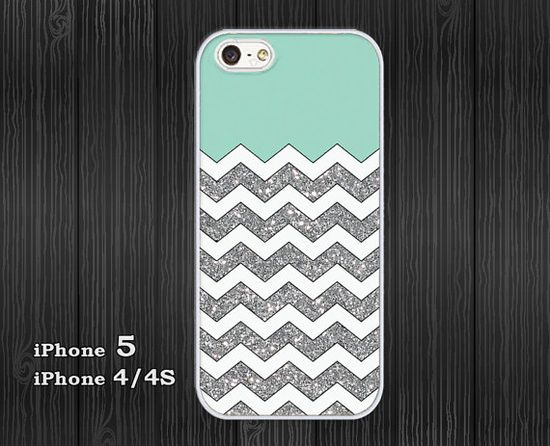 iPhone 5 Case, iPhone 4/4S Case, Hard Plastic or Silicon Rubber, white chevron grunge mint on Etsy, $14.95