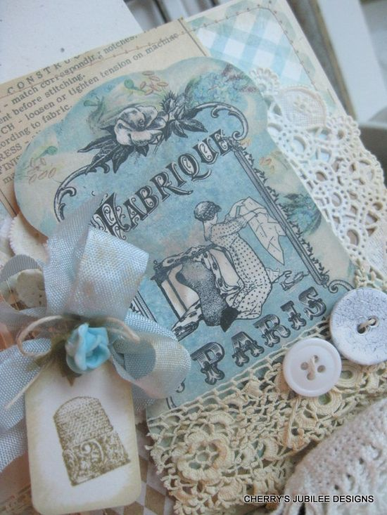 ? lovely shabby chic sewing spool card and matching embellished envelope gift set decoration stationary ?