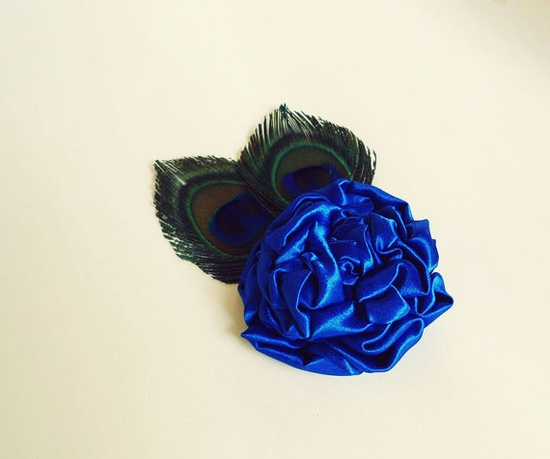 Peacock Feather Hair Accessories Royal Blue Flower Hair Clips by nurichant, #hairaccessories #hairclips #handmade