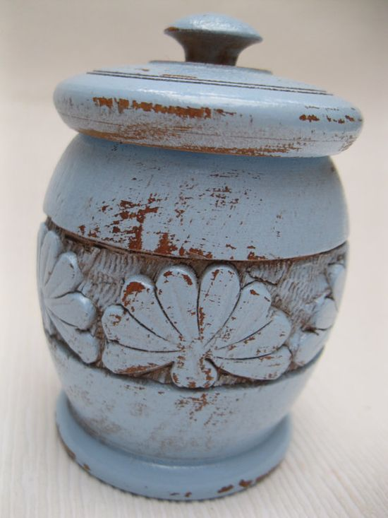 Small Carved Wooden Jar in Shabby Chic Painted Blue -- chippy home decor