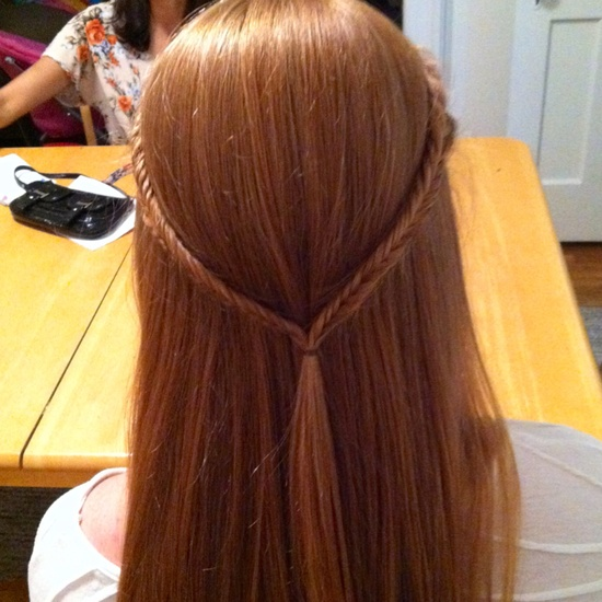 Fishtail braids on beckas pretty hair!