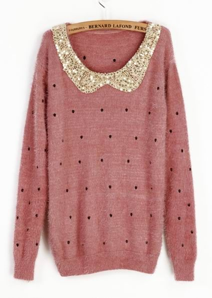 Pink Sequin Collar Sweater.