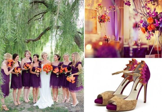 plum and pumpkin fall wedding shoes purple and orange heels bridesmaids in purpl