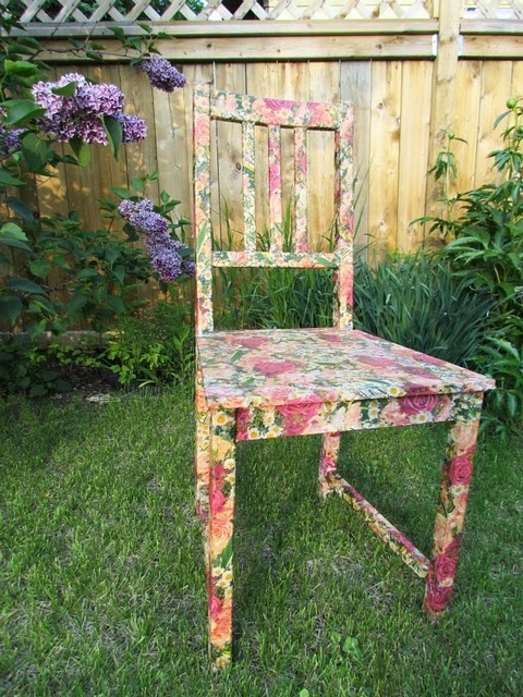 Mod Podge Chair!!!  I have done this method on wicker baskets but I have 5 yes 5