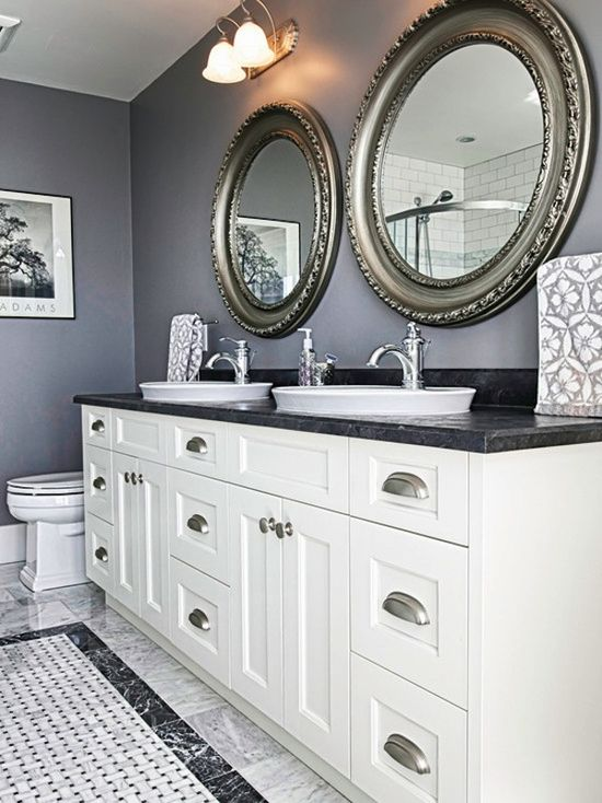 Love the #mirrors and double sinks but how amazing is that #floor? Great #wall #color as well!