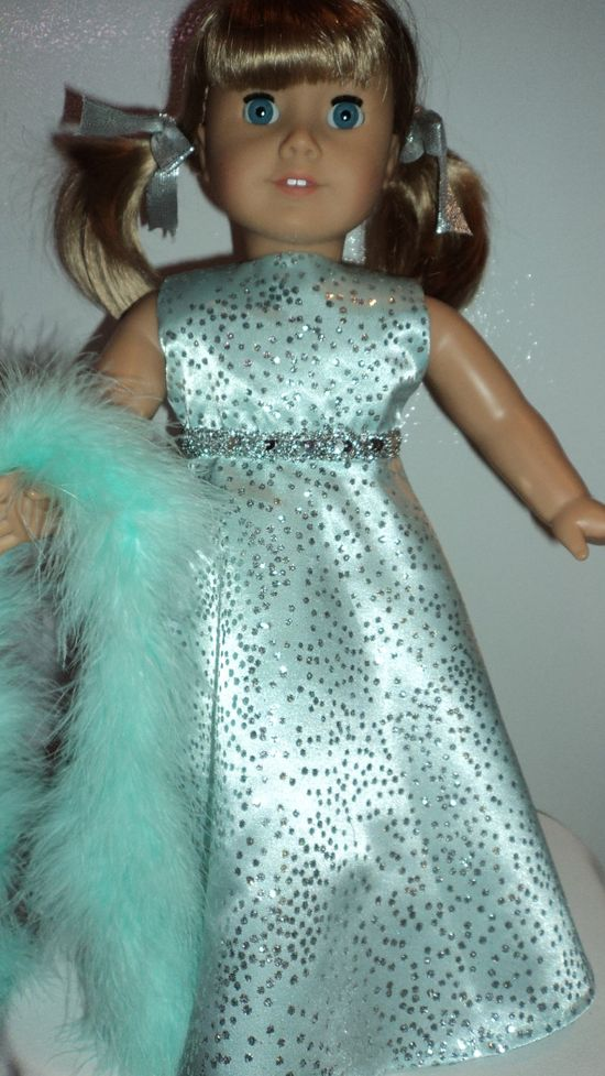American Girl doll clothes Mint Green Gown and by susiestitchit