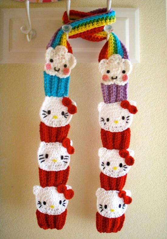 Crochet Hello Kitty Cupcake Scarf PATTERN PDF by prettythings55
