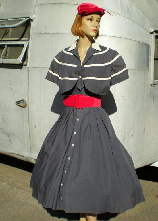 Vintage 1950's Designer Carlye Grey White Stripe Dress Bolero Eames Mid Century Modern Viva Las Vegas. $125.00, via Etsy.