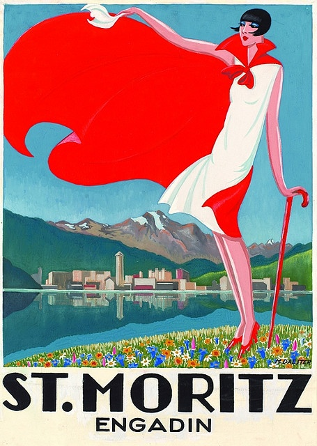 St.Moritz, vintage beach travel poster