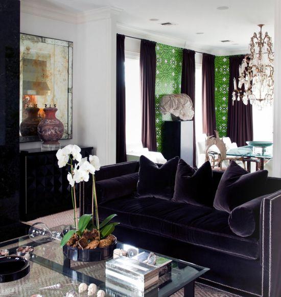 Luxuriate in the Living Room, on black velvet. Interior Designer: Cathy Echols.