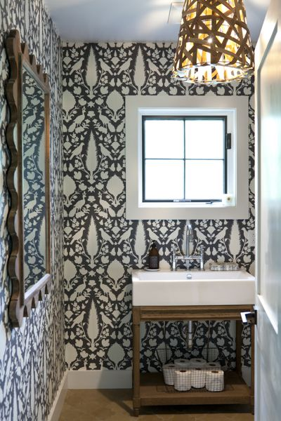 schumacher wallpaper   powder room  wood pendant