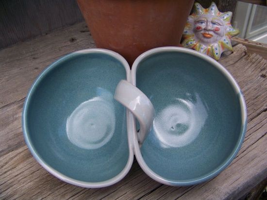 Handmade Pottery Bowl, Double serving bowls. $28.00, via #handmade bow #gangnam style #handmade jewelry designs #smang it