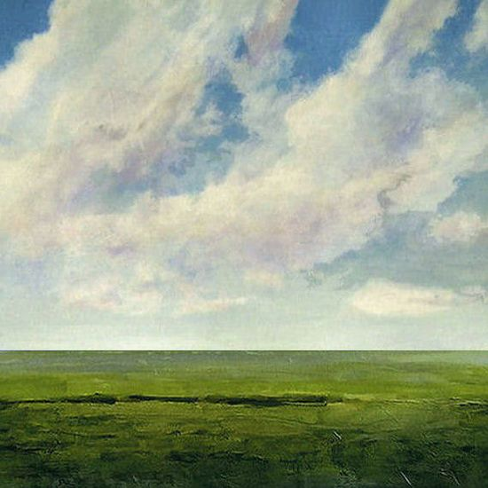 Landscape Painting Original Modern Abstract Sky Cloud by JShears