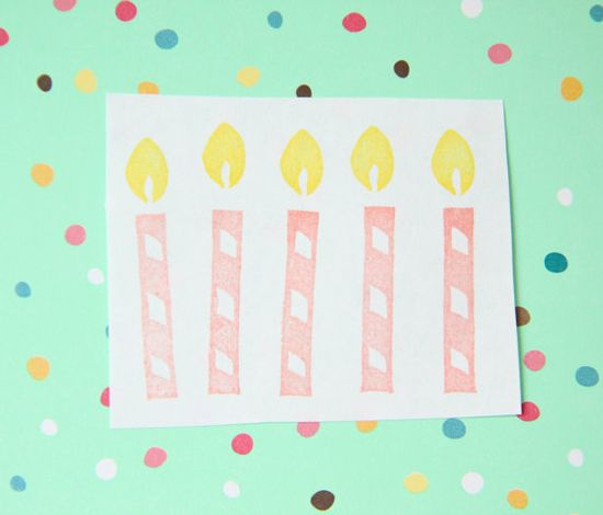 Birthday Candle Hand Carved Stamp Unmounted by hugfishandorange, $3.00