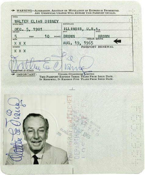 Walt Disney's passport