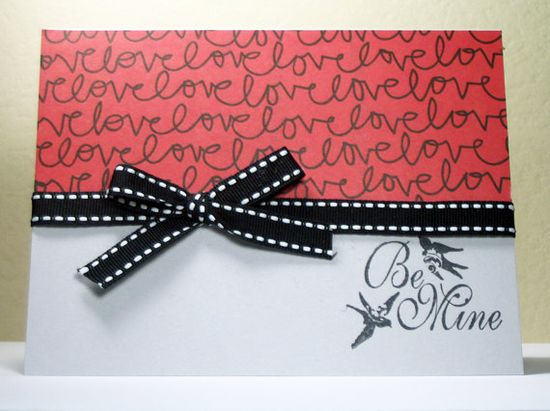 Handmade Valentine Card Be Mine by MissTanDesigns on Etsy, $3.00
