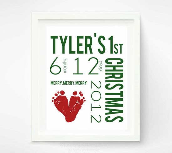 Babys First Christmas Decoration Personalized Nursery Art Print - Baby Footprint Wall Decor Red & Green - New Baby Christmas Gift via Etsy
