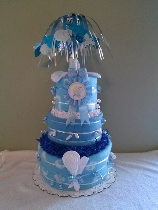 Baby Boy or Girl 3 Tier Diaper Cake Fountain by CraftyLeeDesigns, $40.00