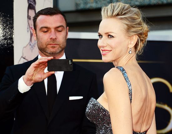 Liev Schreiber immortalized his Oscar-nominated love Naomi Watts with an iPhone pic outside the Dolby Theare in L.A. at the Academy Awards Feb. 24.