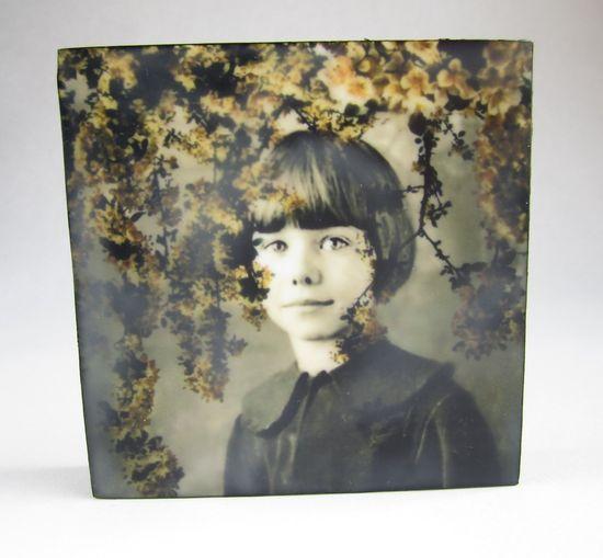 Vintage Family Photo Mixed Media Art Encaustic by PopkoStudio