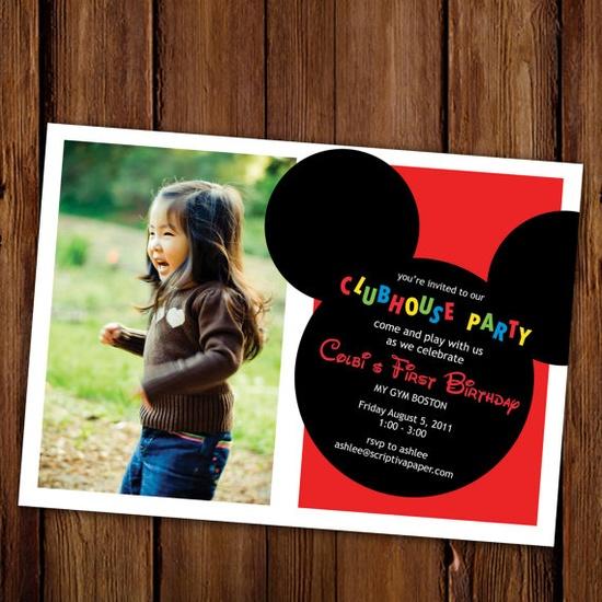 Mickey Mouse Birthday Invitation Mickey Mouse by ScriptivaPaper, $15.00