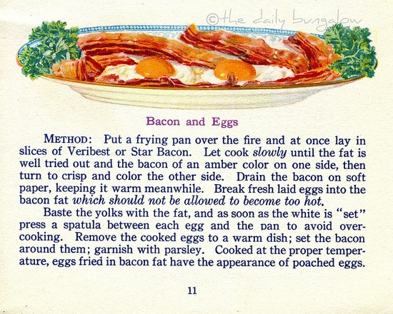 Bacon and Eggs    Vintage illustration from: The Business of Being a Housewife, 1917.  Not really regrettable, but I find the need for a recipe amusing.  Maybe medically inadvisable..... I blame my grandfather's heart attack on this very recipe cooked every day by my grandmother.