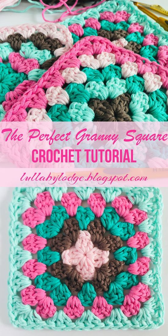Learn how to crochet the perfect granny square with no twisty corners, in this easy step by step tutorial by Lullaby Lodge... #grannysquare #grannysquares #grannysquaretutorial #grannysquarepattern