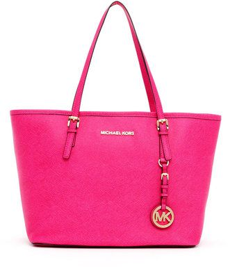 Bright. Big. Fun. perfect for poolside lounging. MICHAEL Michael Kors Small Jet Set Saffiano Travel Tote