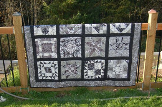 Black and White Handmade Quilt Sampler Quilt by PhatQuarters, $100.00