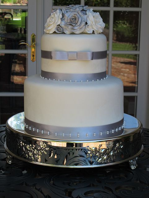 Silver and White Wedding Cake by Let's Do Cake! by Let's Do Cake!, via Flickr