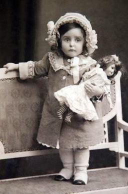 Vintage Children ~ Little Girl w/Doll by