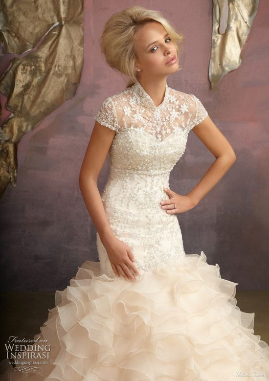 Mori Lee Wedding dresses 2012 by Madeline Gardner - Dress can come with or without the crystal embroidered, cheongsam style coverlet with button back.