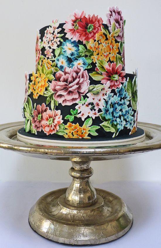 Amazing hand painted black wedding cake with 2D bright flowers #wedding #cake