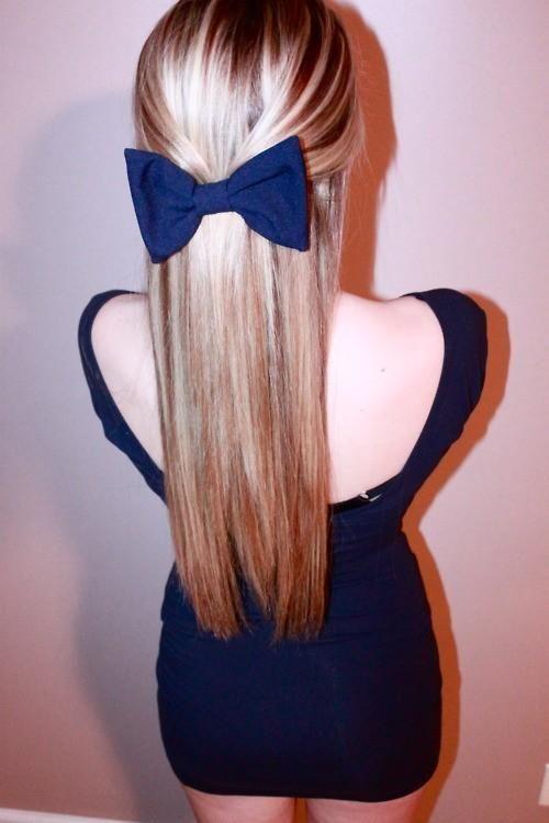 straight hair blue bow