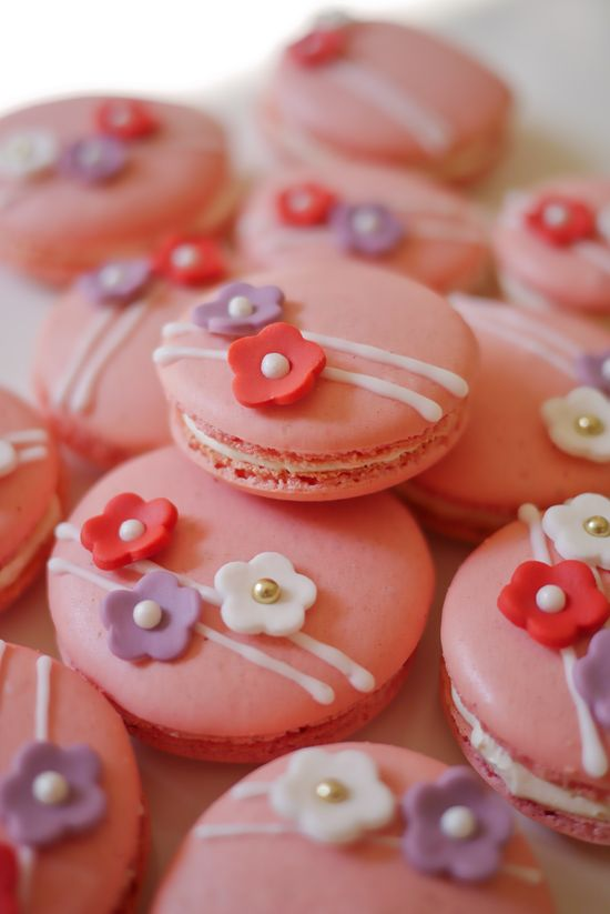 """Little Flower"" Macarons – Red currant-flavored shells and lychee-violet buttercream"