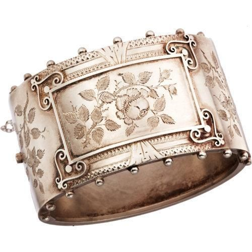 Olivia Collings Antique Jewelry -  Silver Floral Bangle ??