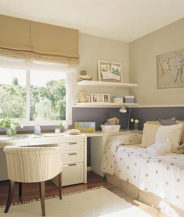 guest room/ office - love the layout of desk + daybed