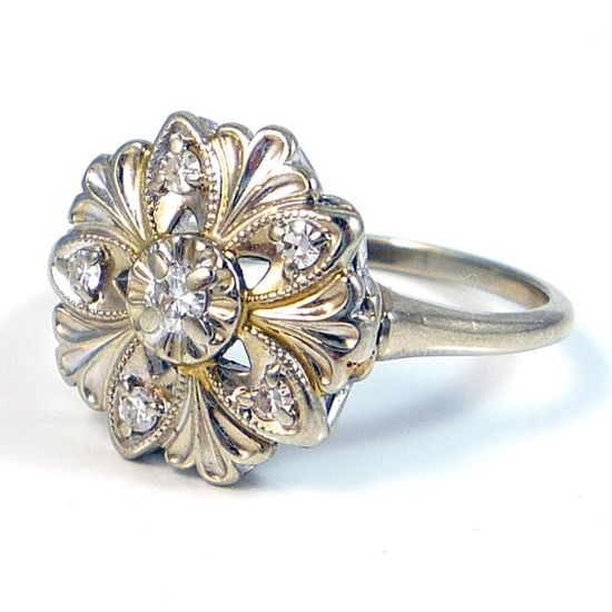 Art Deco diamond cocktail ring.